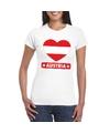 Oostenrijk hart vlag t shirt wit dames