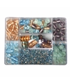 Opbergdoos turquoise parel glaskralen 115 gram
