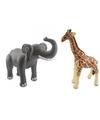 Opblaasbare dierenset olifant en giraffe