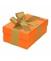 Oranje cadeaudoosje 13 cm met gouden strik