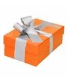 Oranje cadeaudoosje 13 cm met zilveren strik