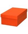 Oranje cadeaudoosje 17 cm rechthoekig