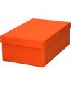 Oranje cadeaudoosje 19 cm rechthoekig