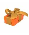 Oranje cadeaudoosje 8 cm met gouden strik