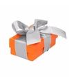 Oranje cadeaudoosje 8 cm met zilveren strik