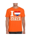 Oranje i love dutch girls shirt heren