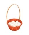 Oranje paasmandje met witte eieren 23cm
