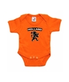 Oranje rompertje met zwarte leeuw baby