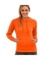 Oranje sweater hoodie met capuchon voor dames