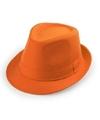 Oranje trilby verkleed hoedje voor volwassenen