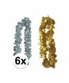 Oud en nieuw accessoires pakket bloemenkrans zilver goud 6x