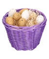 Paars paasmandje met plastic kwartel eieren 14cm