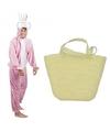 Paashaas kostuum roze met paasmandje voor volwassenen