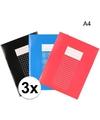 Pakket 3 stuks a4 schriften lijntjes en ruitjes