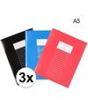 Pakket 3 stuks a5 schriften lijntjes en ruitjes
