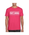 Party animal t shirt fuscia roze heren
