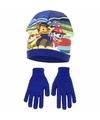 Paw patrol muts met handschoenen blauw voor jongens