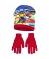 Paw patrol muts met handschoenen rood voor jongens