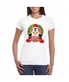 Pinguin kerst t shirt wit merry christmas voor dames