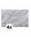 Plastic placemat marmer grijs 4 stuks