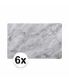 Plastic placemat marmer grijs 6 stuks