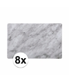 Plastic placemat marmer grijs 8 stuks