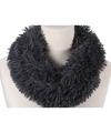 Pluche col sjaal grijs 80 cm voor volwassenen
