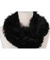 Pluche col sjaal zwart 80 cm voor volwassenen