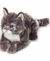 Pluche grijze poes kat knuffel 30 cm
