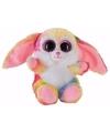 Pluche haas konijn knuffeltje roze kleuren 15 cm