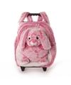 Pluche kindertrolley rugtasje roze konijn haas 35 x 25 x 13 cm