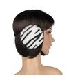 Pluche oorwarmers witte tijger print voor dames