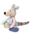 Pluche patchwork kangoeroe knuffel 28 cm