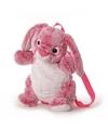 Pluche roze konijn haas rugtas 20 x 36 cm