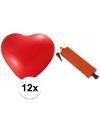 Rode hartjesballonnen 12 stuks inclusief ballonpomp