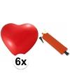 Rode hartjesballonnen 6 stuks inclusief ballonpomp