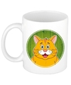 Rode kat mok beker voor kinderen 300 ml