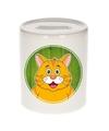 Rode katten spaarpot voor kinderen 9 cm