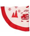 Rode kerstboomrok kleed met sneeuwpop 90 cm