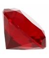 Rode nep diamant 5 cm van glas