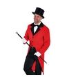 Rode slipjas met zwarte hoge hoed maat l