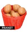 Rood paasmandje met eieren naturel 14 cm