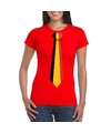 Rood t shirt met belgie vlag stropdas dames