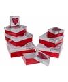 Rood wit cadeaudoosje met hart 22 cm vierkant