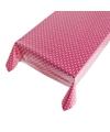 Roze buiten tafelkleed tafelzeil polkadot 140 x 240 cm