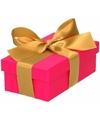 Roze cadeaudoosje 10 cm met gouden strik