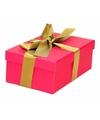 Roze cadeaudoosje 15 cm met gouden strik