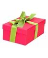 Roze cadeaudoosje 15 cm met lichtgroene strik