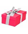 Roze cadeaudoosje 15 cm met zilveren strik