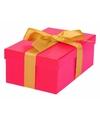 Roze cadeaudoosje 17 cm met gouden strik